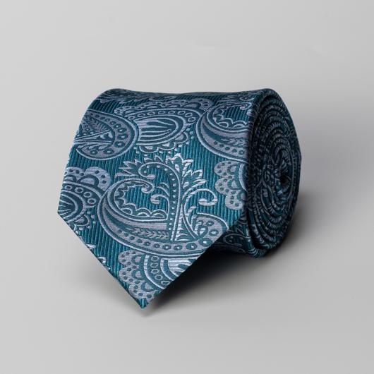 Blue paisley silk tie