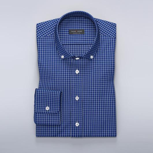 Blauw geruit Oxford overhemd