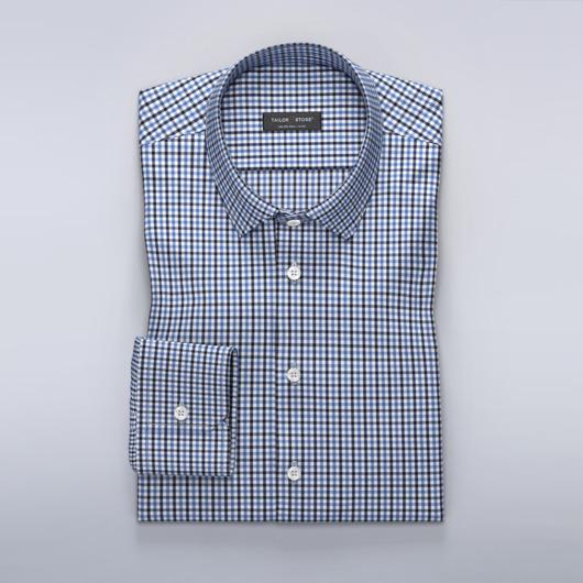 Rutete dresskjorte i marineblå/blå