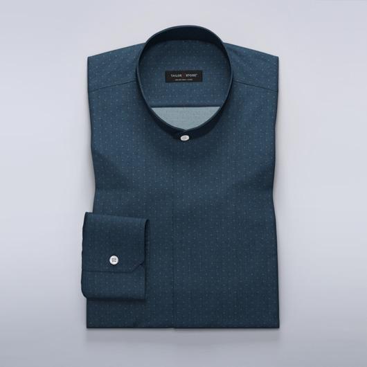 Donker navy overhemd met chevron patroon