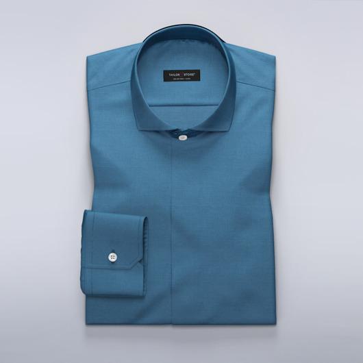 Medium blå, mønstret dresskjorte