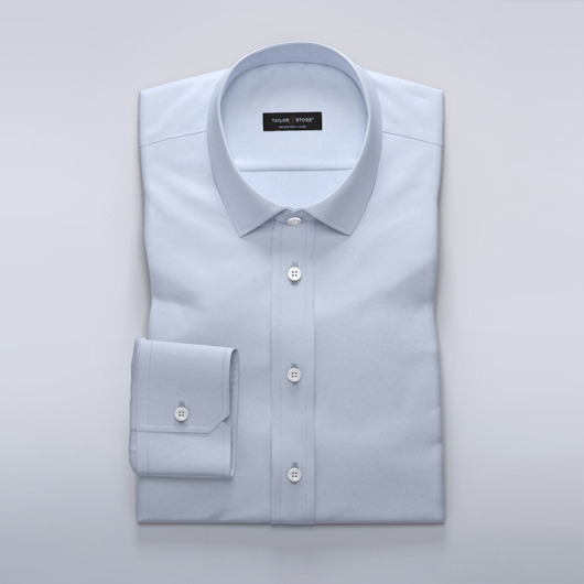 Light blue business dress shirt in wool blend<br>