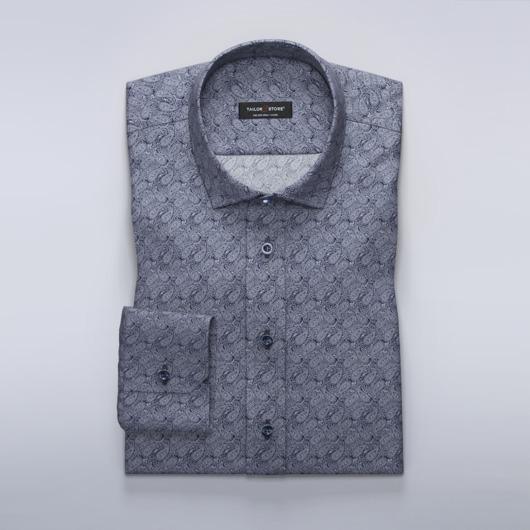 Navy dress shirt with paisley pattern