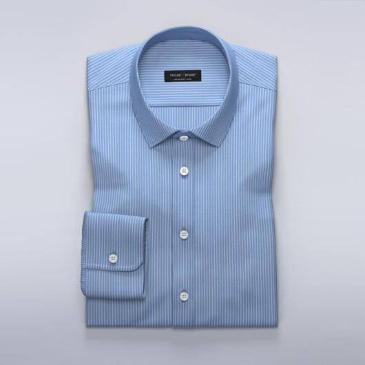 Błękitna koszula damska w białe prążki