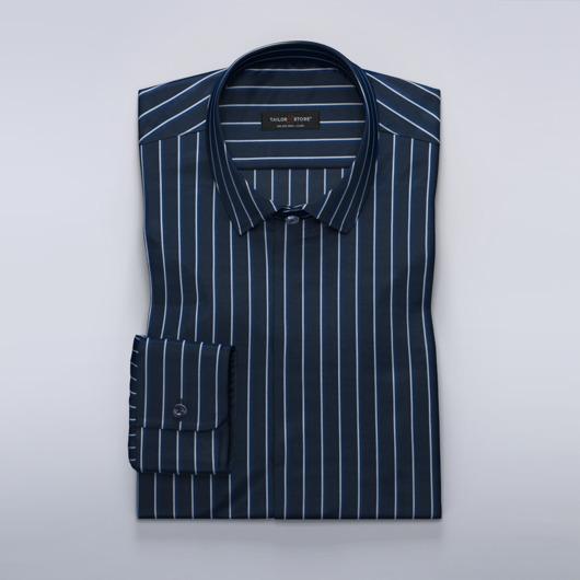 Marineblå dameskjorte med hvite/blå striper