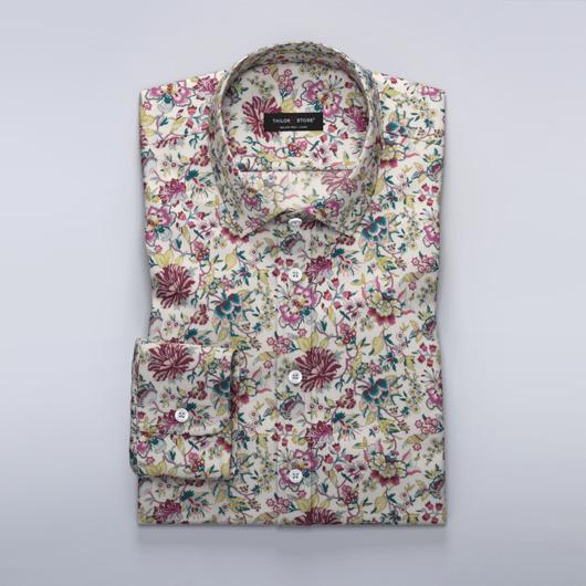 Dameskjorte med rosa blomster