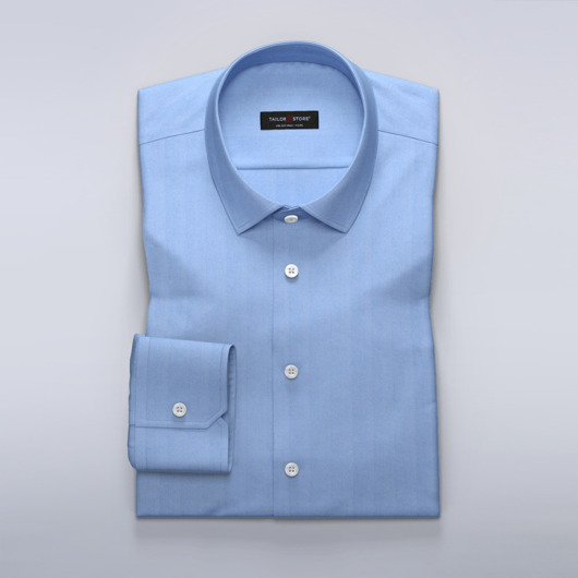 Business shirt in blue herringbone