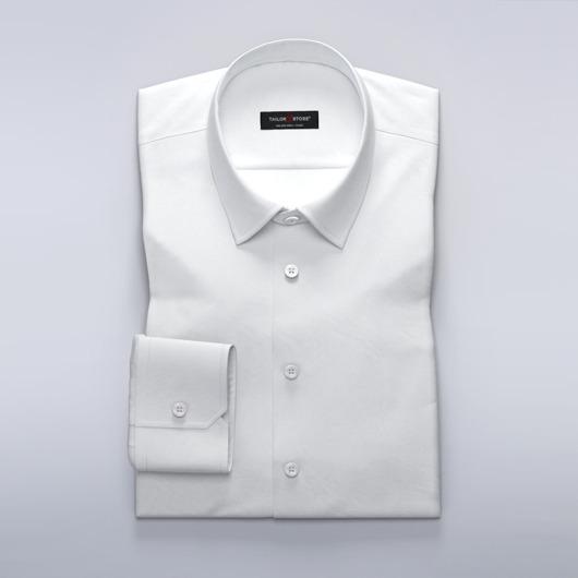Leichtes weißes Business-Hemd aus Ratière-Gewebe
