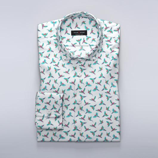 Satin dress shirt with turquoise bird print