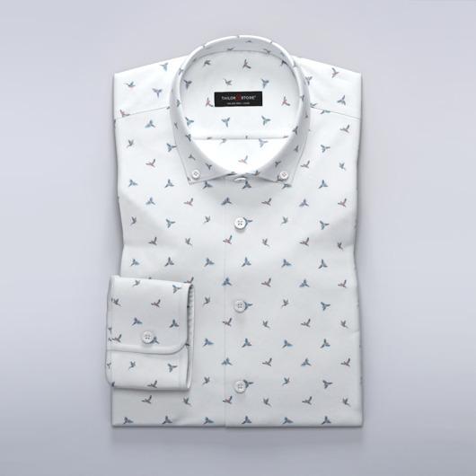 Satijnen overhemd met kleine vogelprint