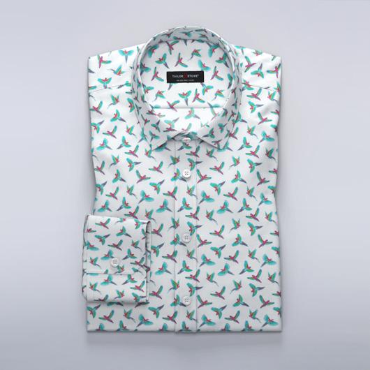Satijnen overhemd met turquoise vogelprint