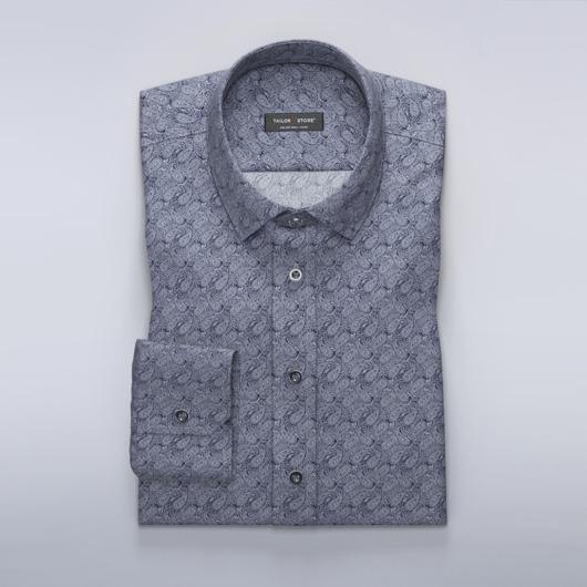Marineblå dresskjorte med paisleymønster