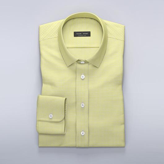Rutete dresskjorte i gul/hvit