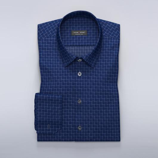 Donkerblauw/wit geruit overhemd