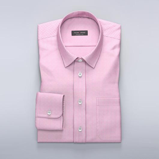 Hvid/Pink ternet poplin skjorte