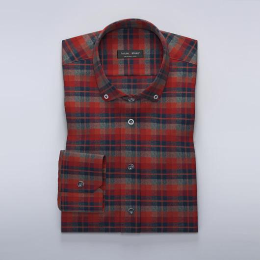 Flanelowa czerwono-szara koszula w kratkę