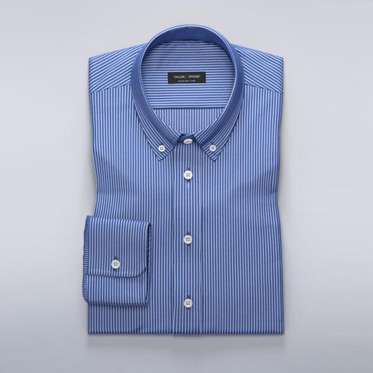 74fe295ae80 Dark blue dress shirt with thin white stripes