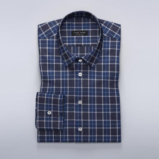 Tartan-skjorte i marineblå, sort og hvit.