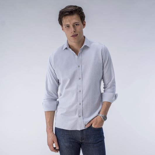 Lysegrå børstet Oxford-skjorte<br>