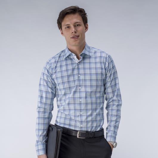 Chemise bleue clair à carreaux