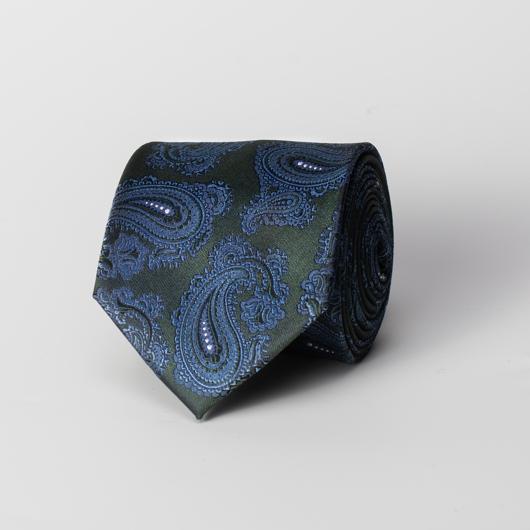 Groene zijden paisley stropdas