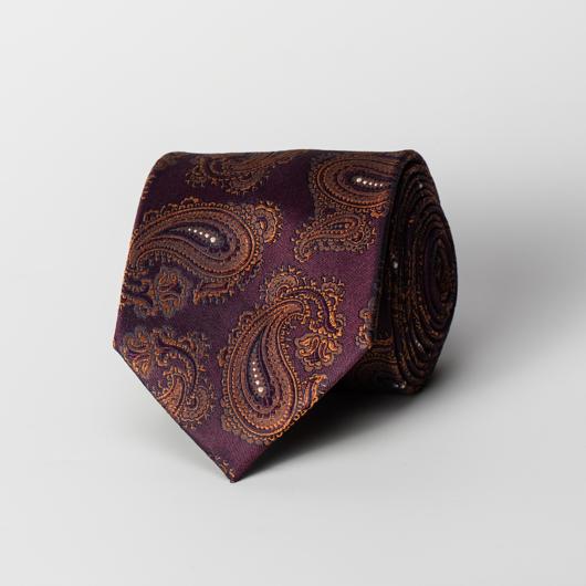 Pruimkleurige zijden paisley stropdas
