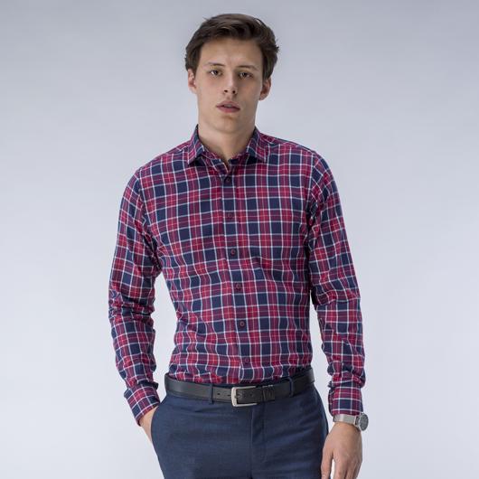 Chemise rouge à carreaux sur mesure
