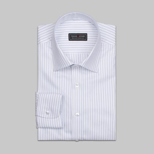 Hvit/blåstripete skjorte i økologisk bomull