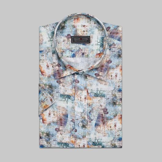 Mønstret dresskjorte i lin.
