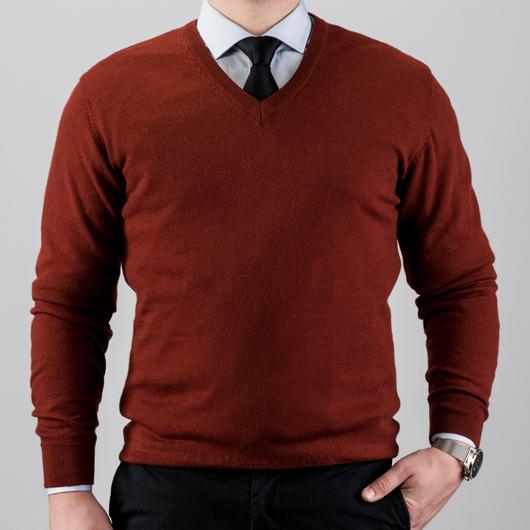 V-Neck merino wool sweater, red