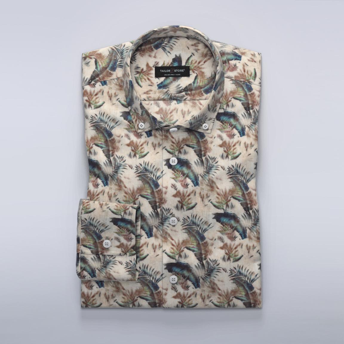 Beiges, gedrucktes Leinenhemd in limitierter Auflage