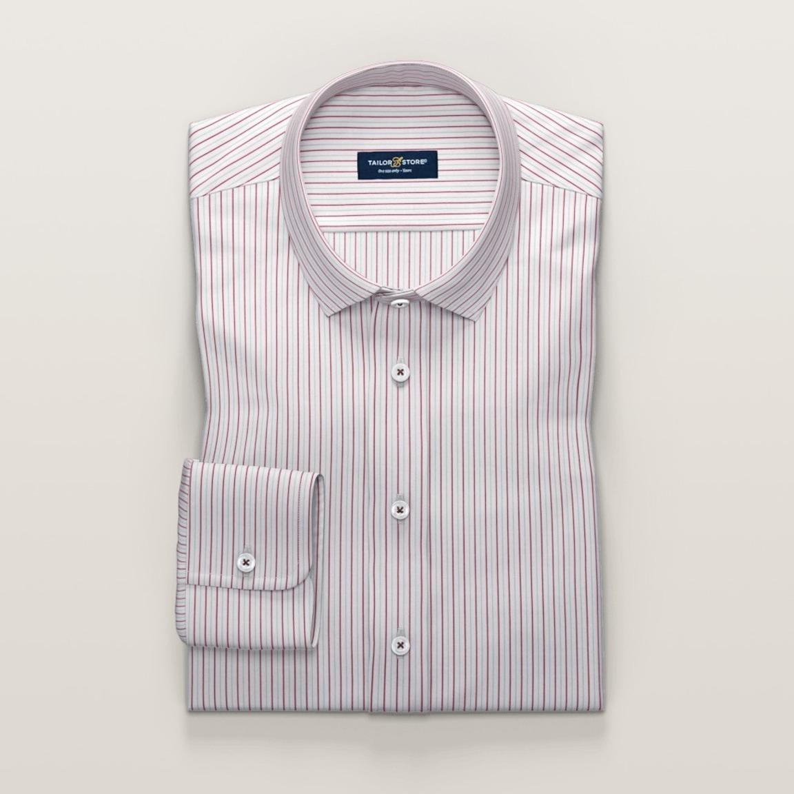 Trendy weißes Business-Hemd mit dünnen roten Streifen
