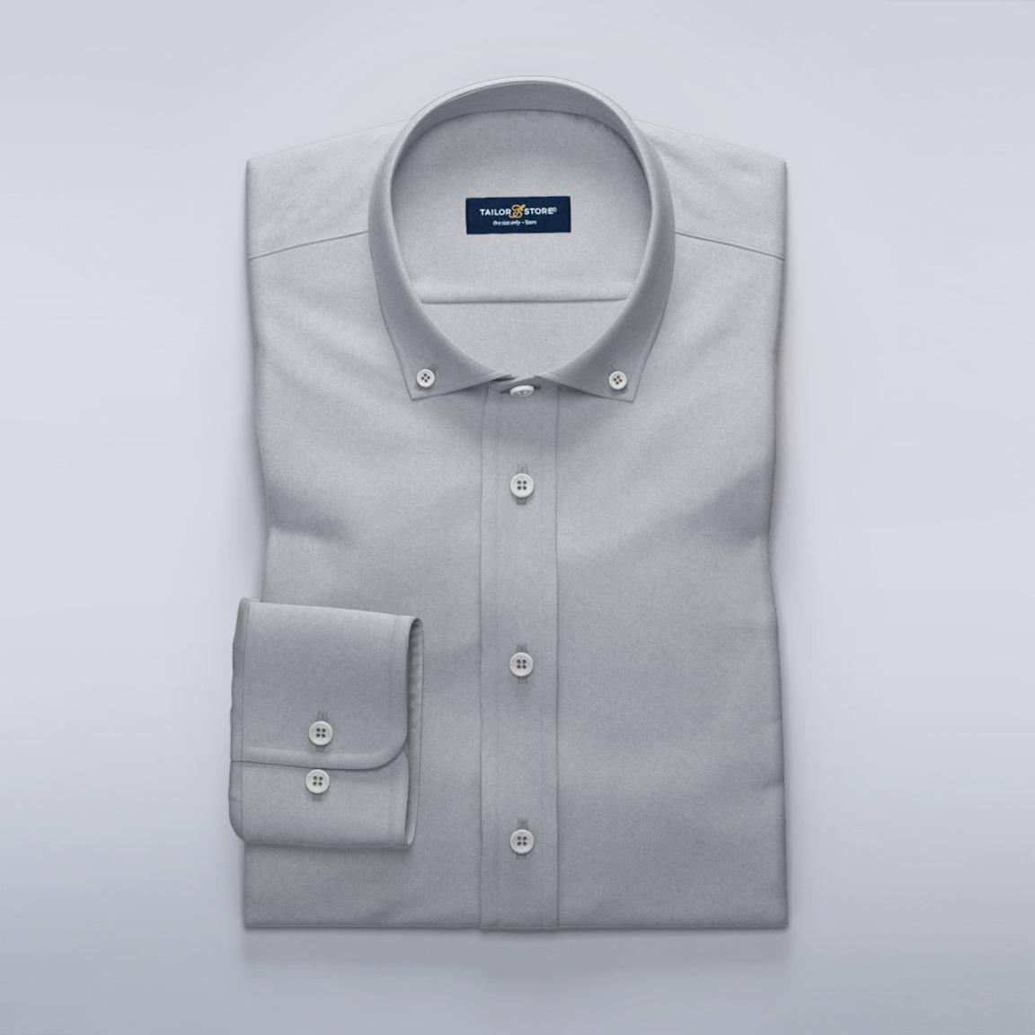 Hellgraues Oxford-Hemd, weich gebürstet