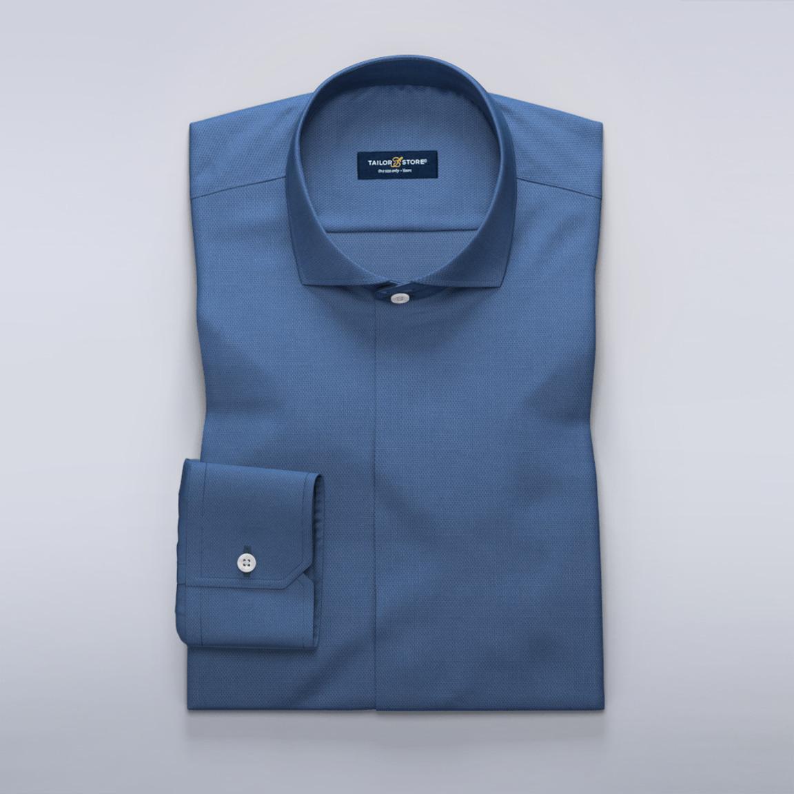 Medium blå, mønstret skjorte
