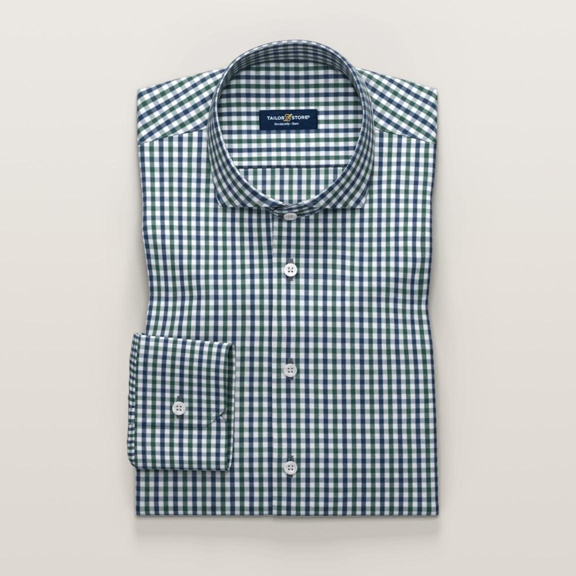 Chemise business à carreaux en vert et bleu marine