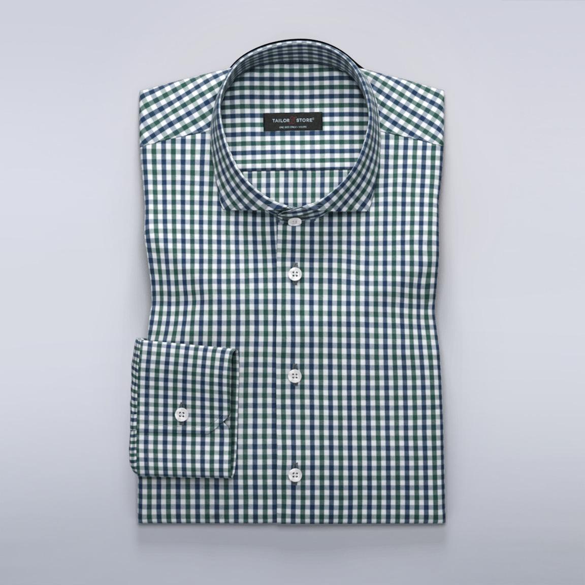 Rutete business-dresskjorte, marineblå/grønn