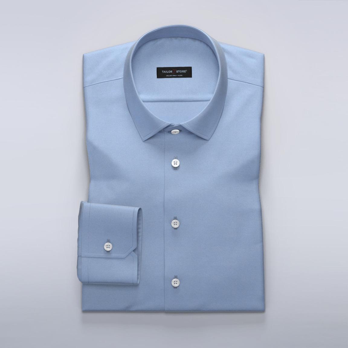 Dames business overhemd in lichtblauw herringbone