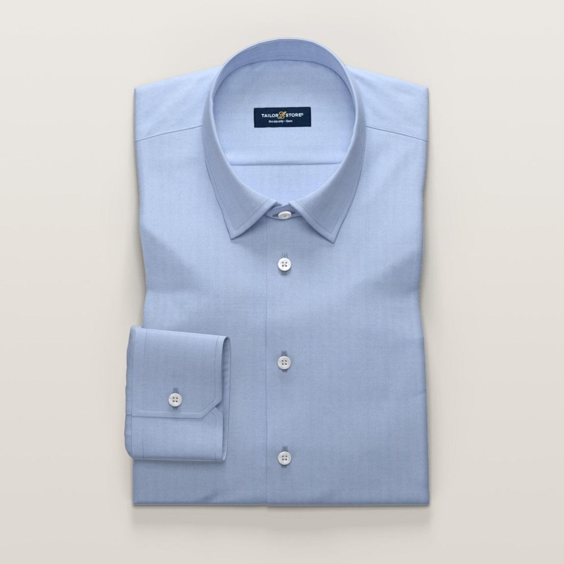 Light blue business dress shirt in herringbone<br>