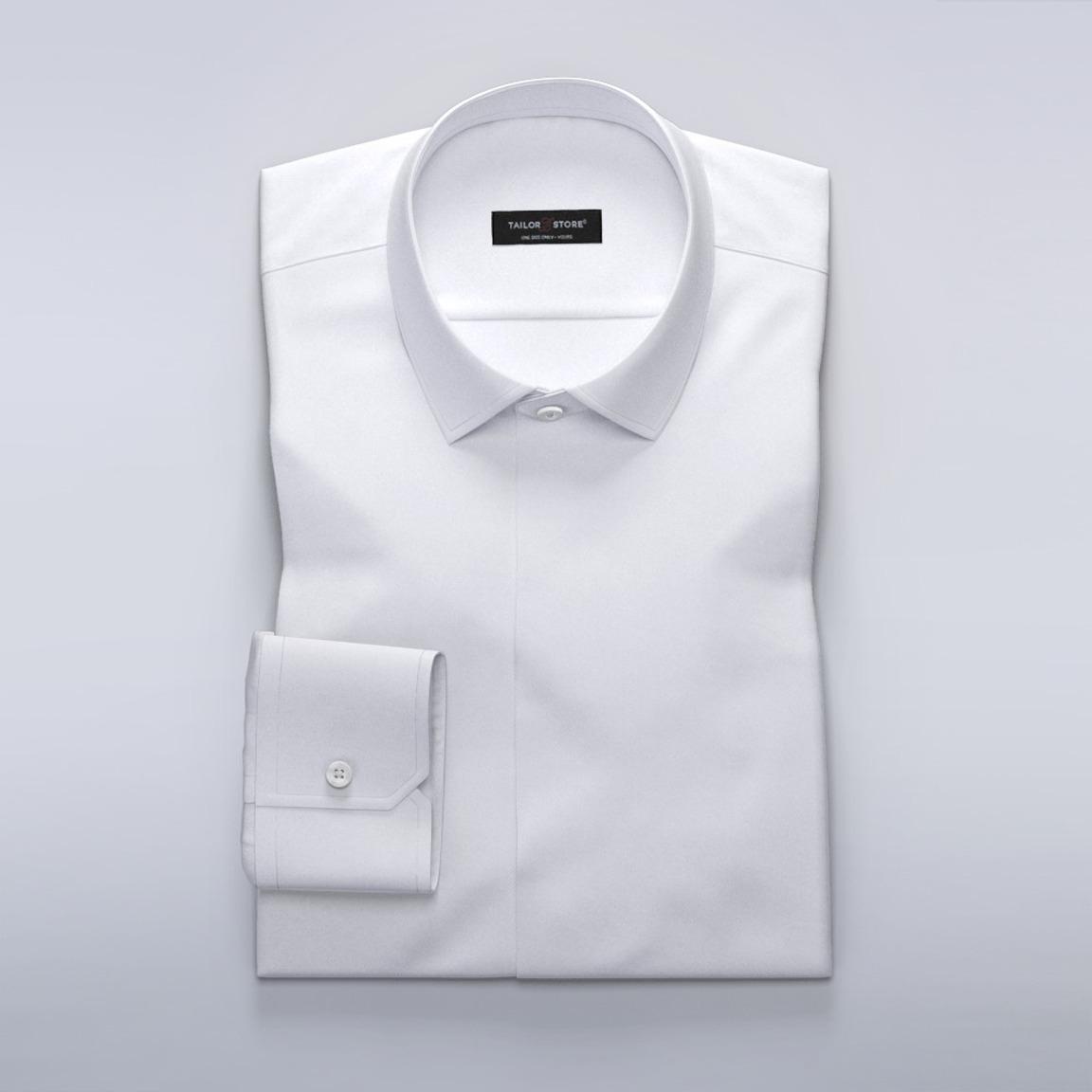 Business-skjorte til damer i hvid dobby-vævning.