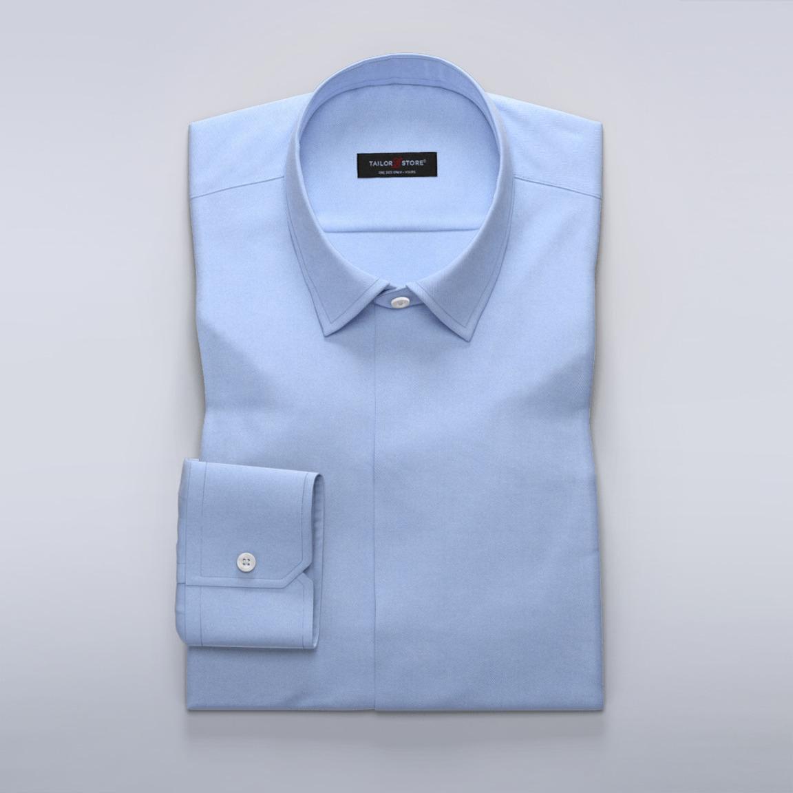 Business-skjortei blå twill for damer
