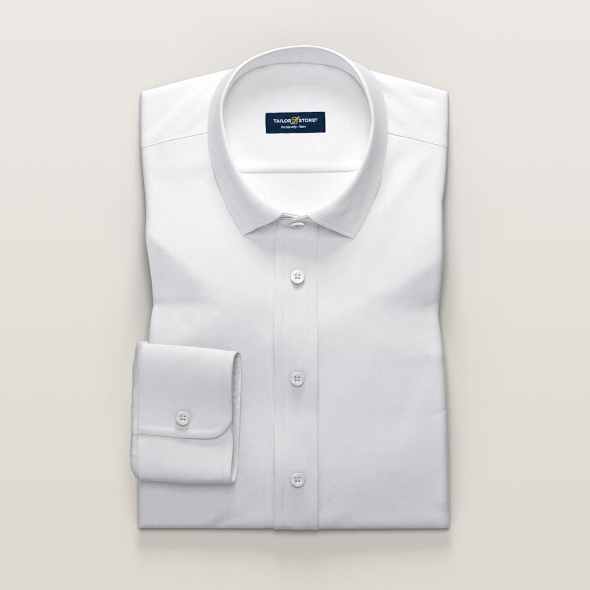 Business-Hemd aus weißem Ratière-Gewebe