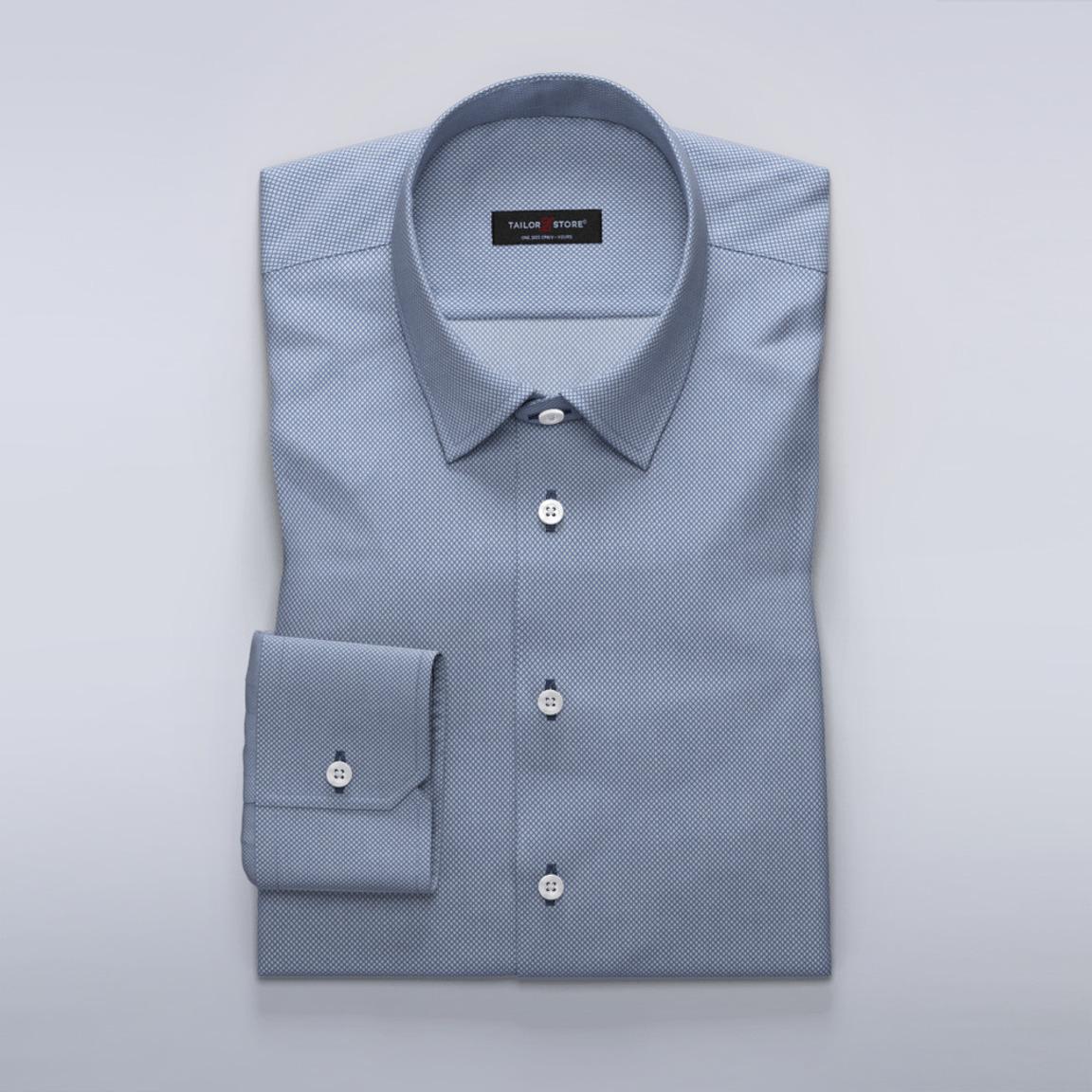 Niebieska koszula damska o drobnym wzorze