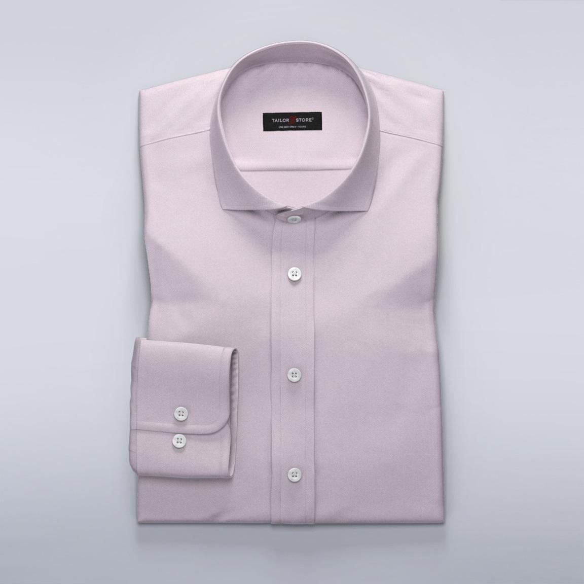 Biznesowa koszula w jodełkę o jasnoróżowym odcieniu