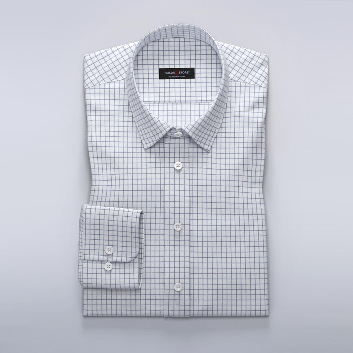 Chemise business à carreaux en blanc et bleu foncé en twill