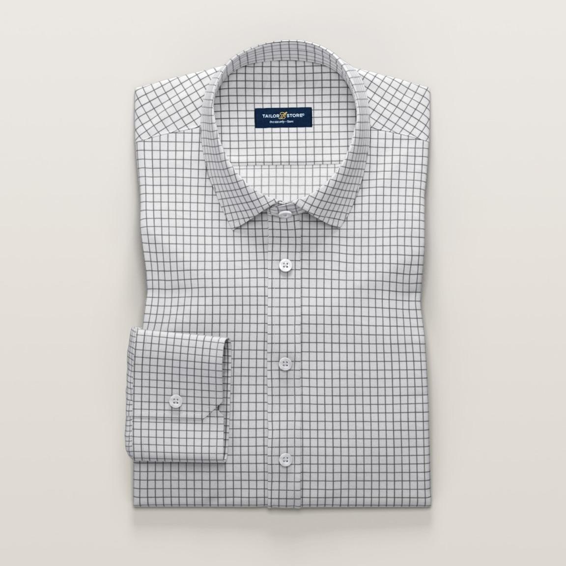 Business-skjorte til dame, med ruter i svart og hvit twill