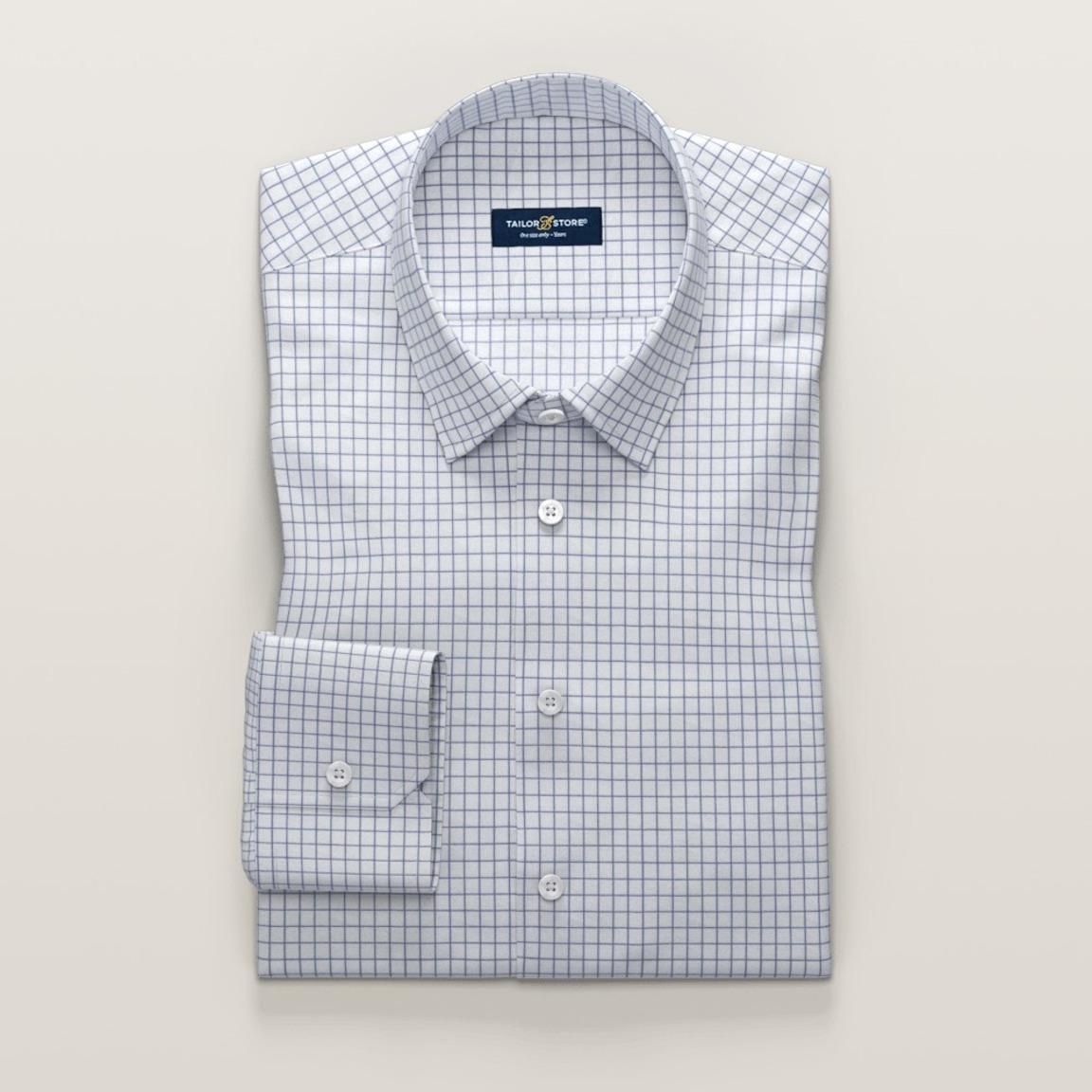 White and dark blue checkered women's shirt