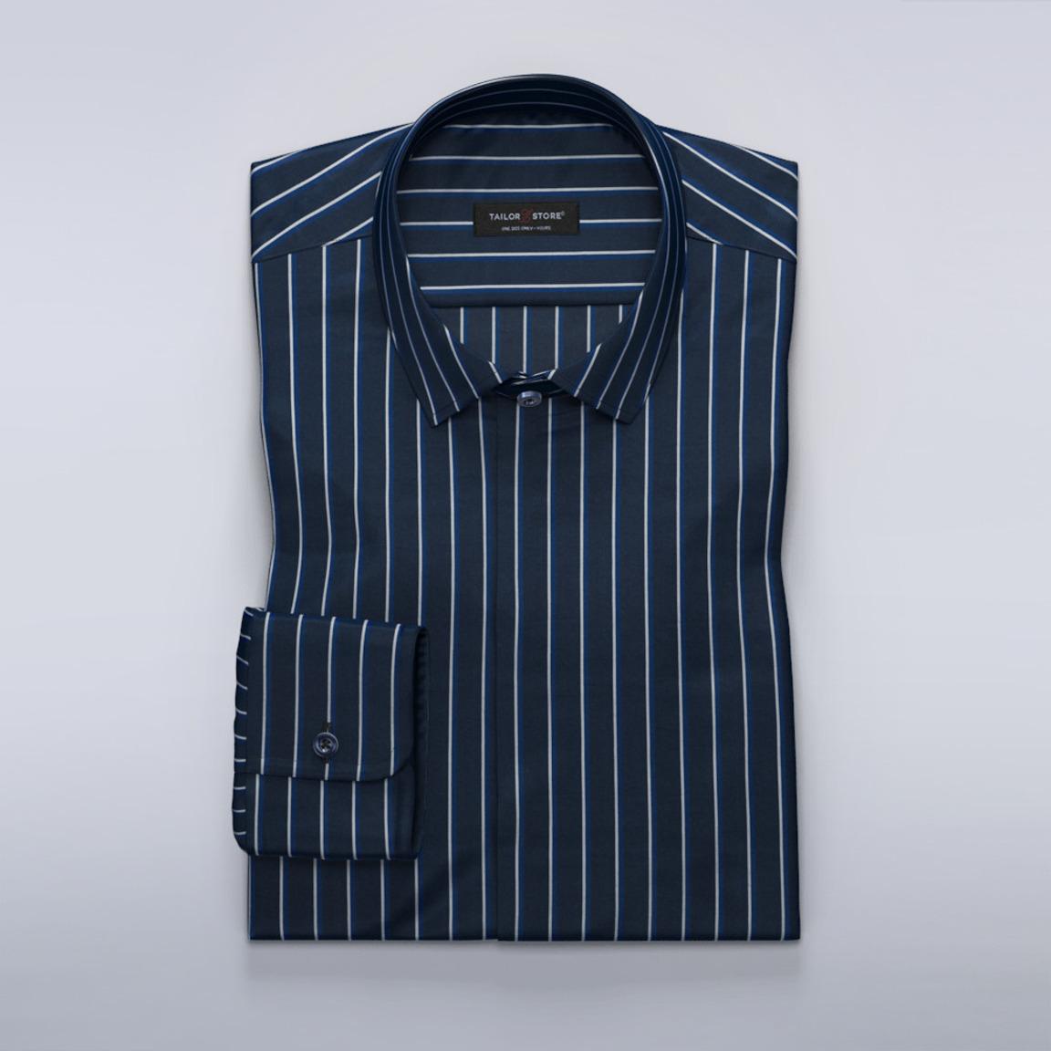 Chemise pour femmes en bleu marine avec des rayures blanches/bleues