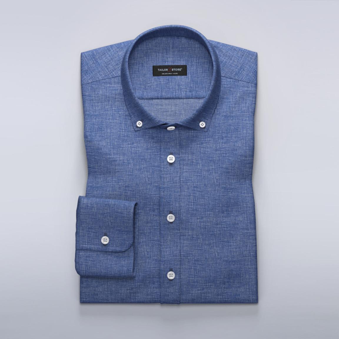 Dames Overhemd.Dames Overhemd In Blauw Linnen Tailor Store