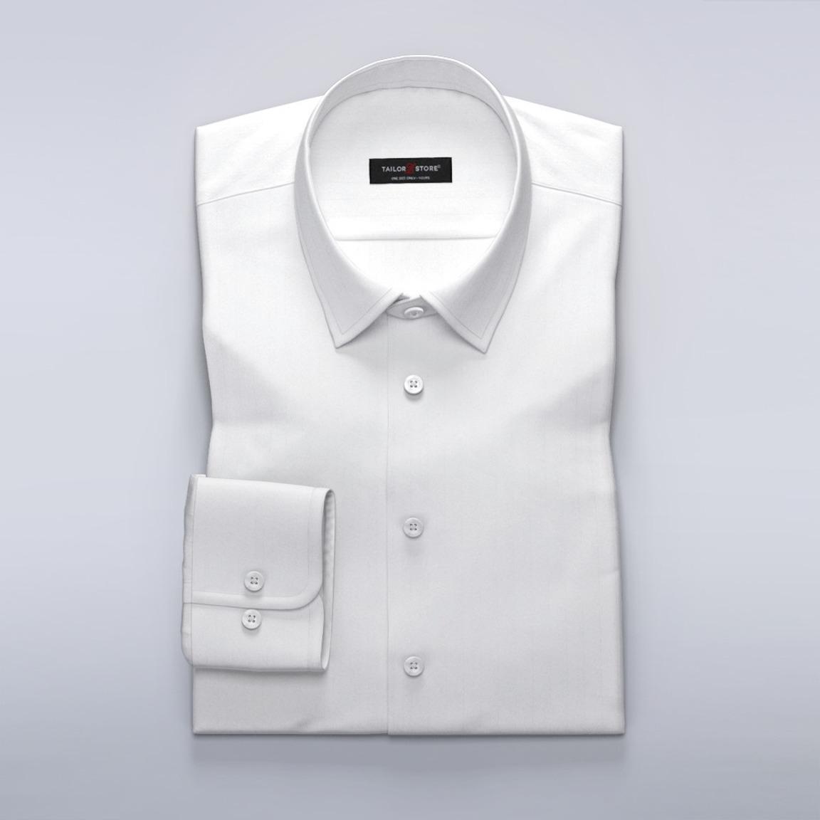 Koszula biznesowa z ekskluzywnego białego materiału w jodełkę