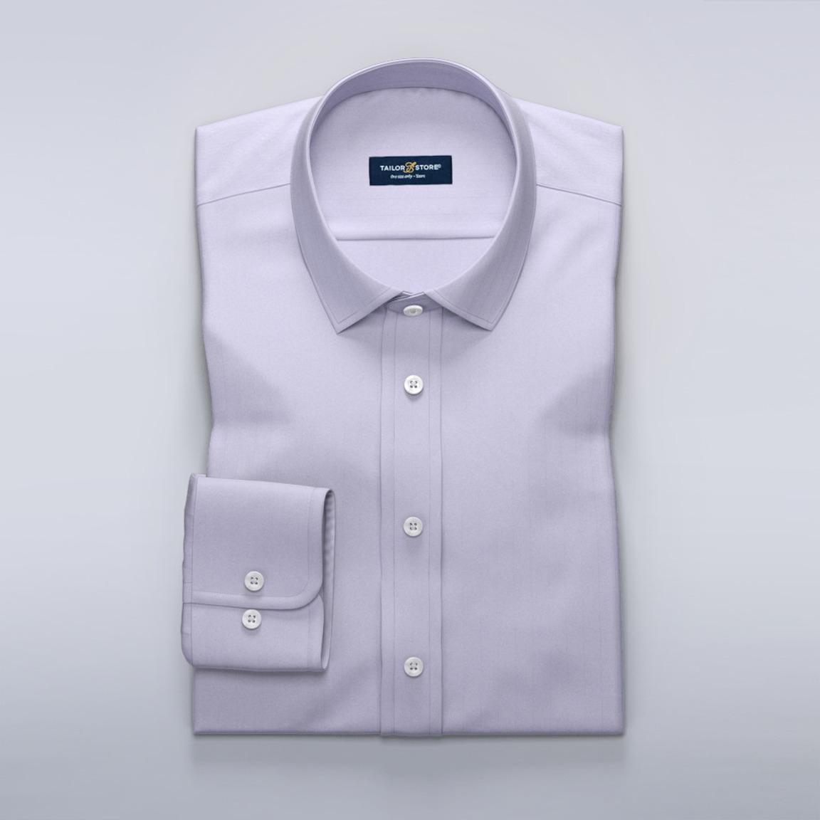 Business-skjorte til damer i luksuriøs lilla sildebensvævning.